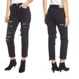 Levi's 501 high Rise Ripped Crop jeans NWT 25